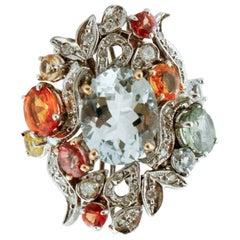 Handcrafted Ring Aquamarine, Multi-Color Sapphires, Diamonds, White Gold