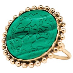 Handcrafted Rising Phoenix Malachite 14 Karat Gold Signet Ring by L'Enchanteur