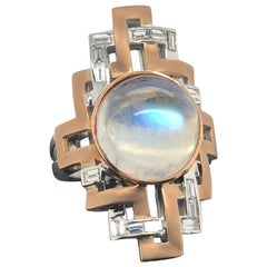 Handcrafted Round Cabochon Moonstone and Baguette Diamond Art Deco Cocktail Ring