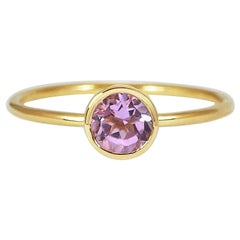 Handcrafted Round Cut 0.45 Carat Amethyst 18 Karat Yellow Gold Solitaire Ring