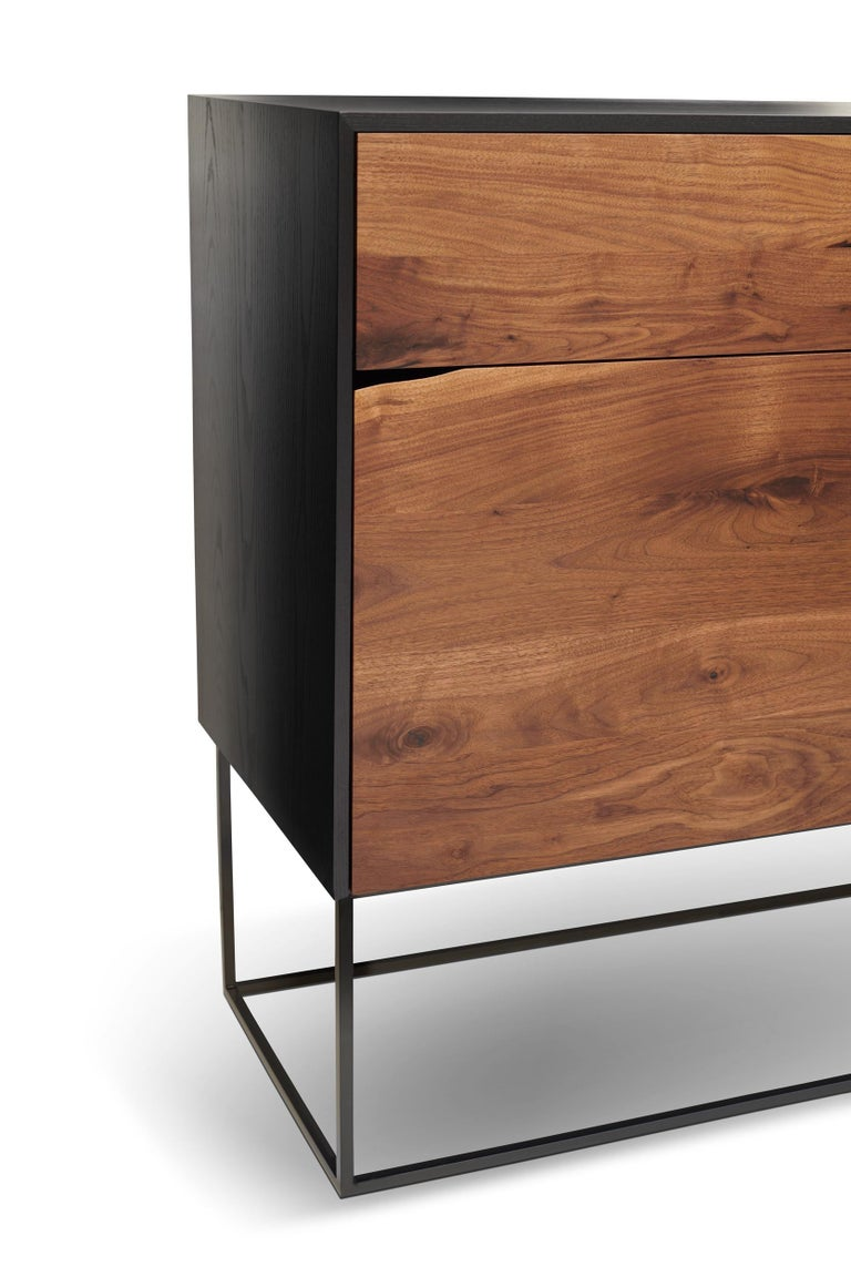 Handcrafted Rustic Modern Sideboard of Select Walnut and Black Lacquered Ash In New Condition For Sale In St. Paul, MN