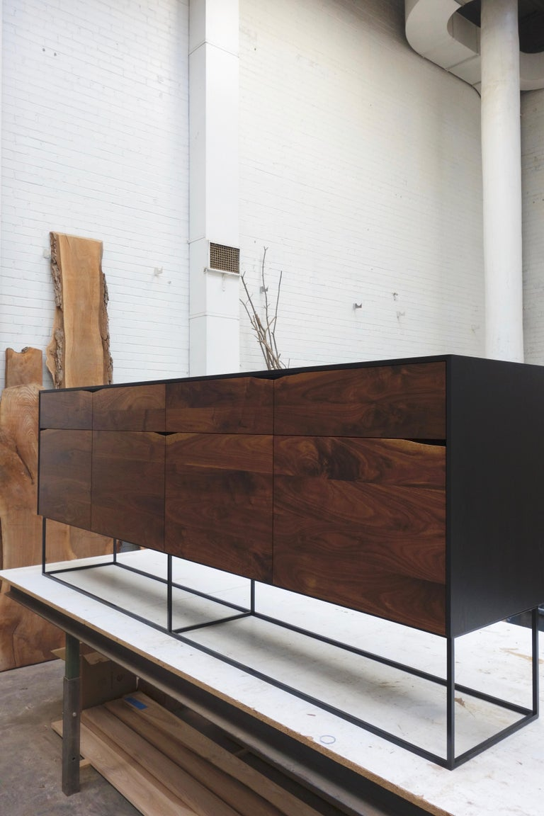 Contemporary Handcrafted Rustic Modern Sideboard of Select Walnut and Black Lacquered Ash For Sale