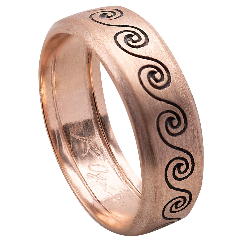 Handcrafted Satin 18 Karat Rose Gold Wave Unisex Design Ring