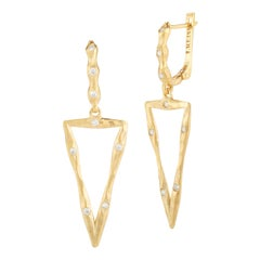 Handcrafted Satin-Finished Dangling Triangle Earrings