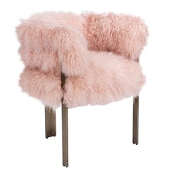 In Stock Sheepskin Armchair in Blush Featuring Three Antique Bronze Legs