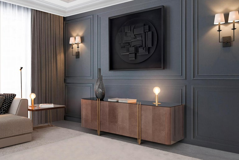 Modern Handcrafted Sideboard in Glossy Grey Sycamore and Aged Brass For Sale