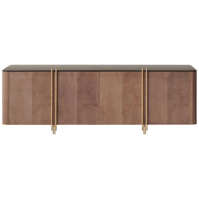 Handcrafted Sideboard in Glossy Grey Sycamore and Aged Brass For Sale