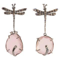 Handcrafted Silver Rose Quartz 0.50 Karat Brown & Grey Diamond Dangle Earrings