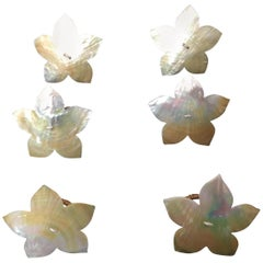Handcrafted Six Napkin Rings in Natural Capiz Pearl Shell Flower Star Shape