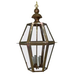 Handcrafted Six Sides Solid Copper and Brass Hanging Lantern