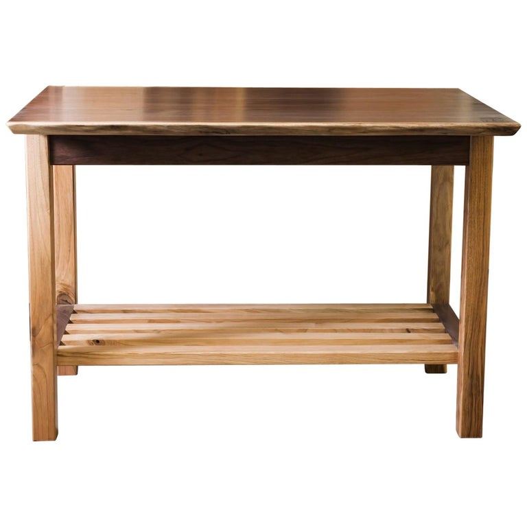 Awe Inspiring Handcrafted Small Kitchen Island In Walnut With Open Shelving Dailytribune Chair Design For Home Dailytribuneorg