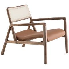 Handcrafted Solid Wood Armchair, Closed Cane Backrest/Leather Seat