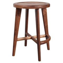 Handcrafted Solid Wood Bar or Counter Stool, Walnut Oak Ash