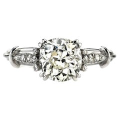 Handcrafted Sophia Antique Cushion Cut Diamond Ring by Single Stone
