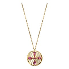 Handcrafted Spinel and 18 Karat Yellow Gold Pendant Necklace