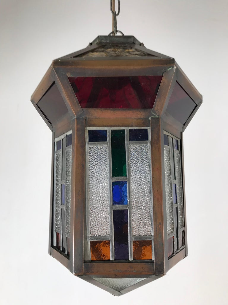 Handcrafted Stain Leaded Glass Geometric Design Art Deco Pendant, Great Colors For Sale 3