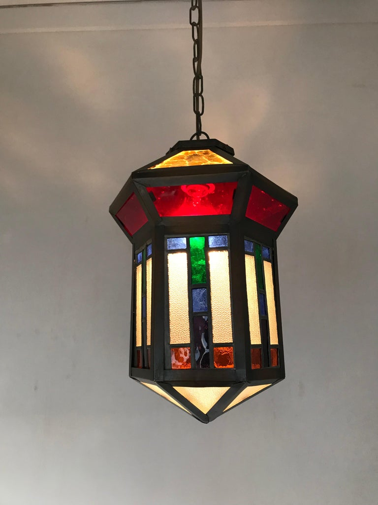 Handcrafted Stain Leaded Glass Geometric Design Art Deco Pendant, Great Colors For Sale 4
