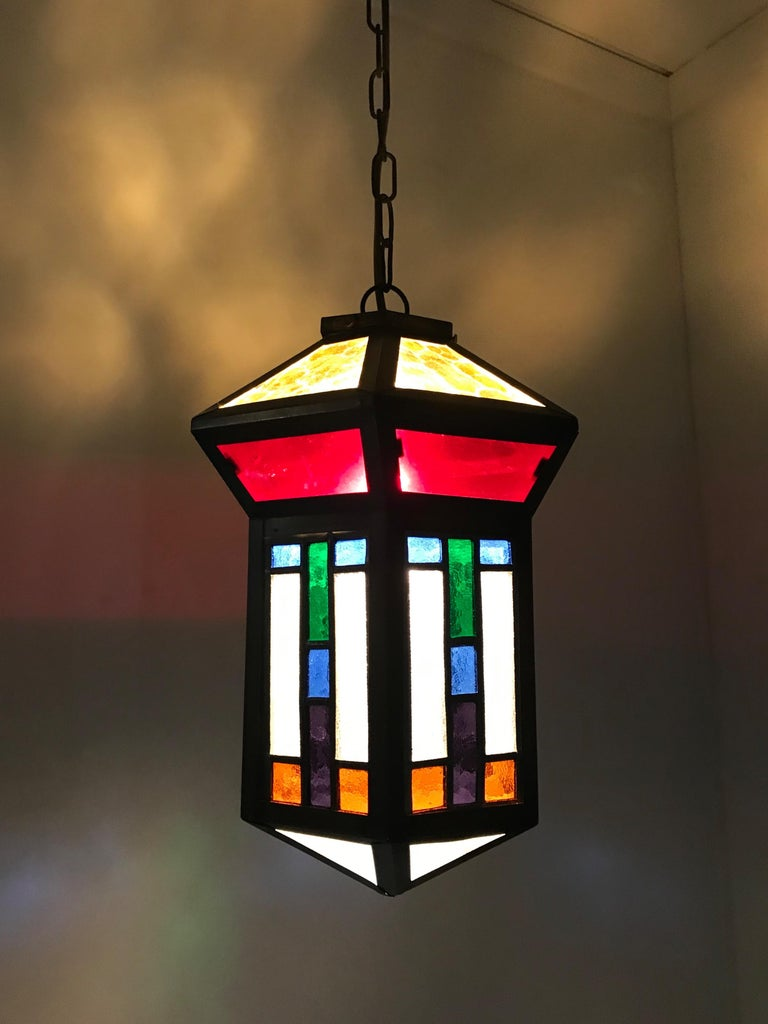 Handcrafted Stain Leaded Glass Geometric Design Art Deco Pendant, Great Colors For Sale 8