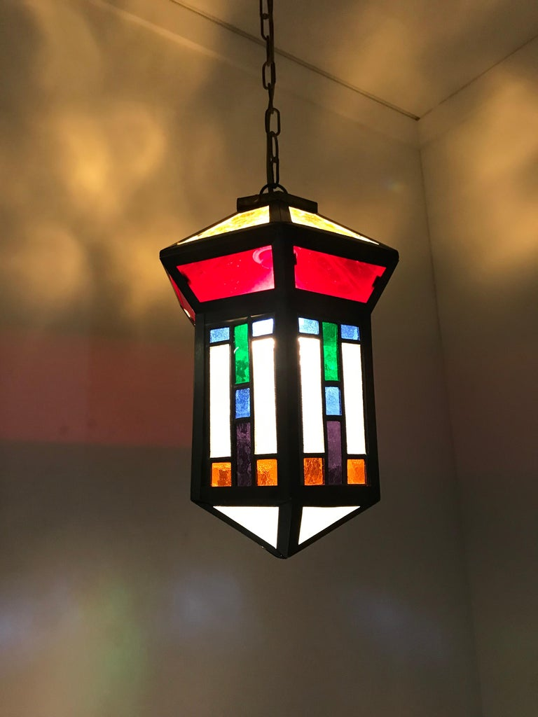 Handcrafted Stain Leaded Glass Geometric Design Art Deco Pendant, Great Colors For Sale 12