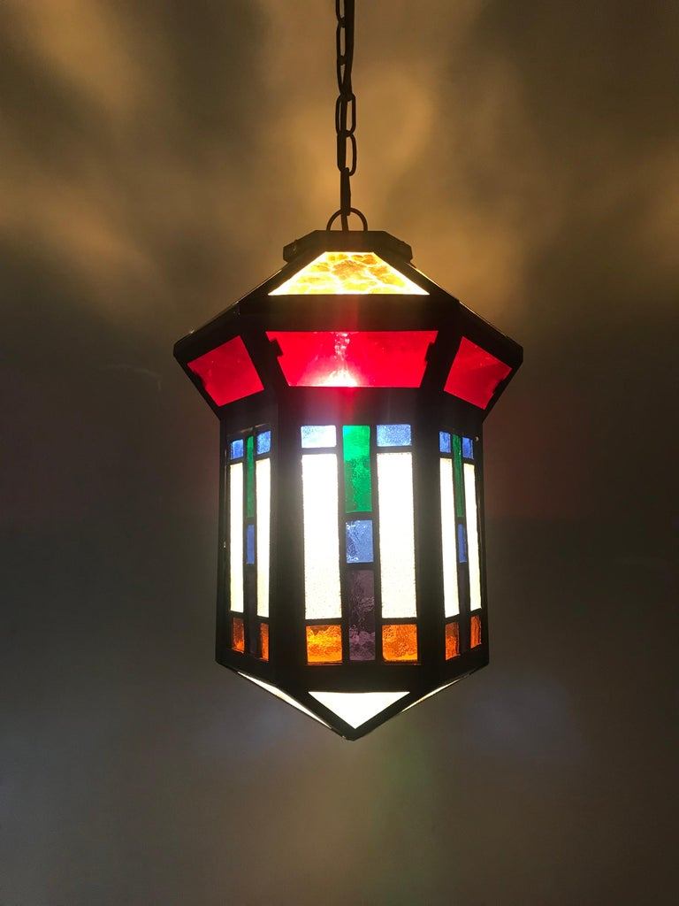 Dutch Handcrafted Stain Leaded Glass Geometric Design Art Deco Pendant, Great Colors For Sale