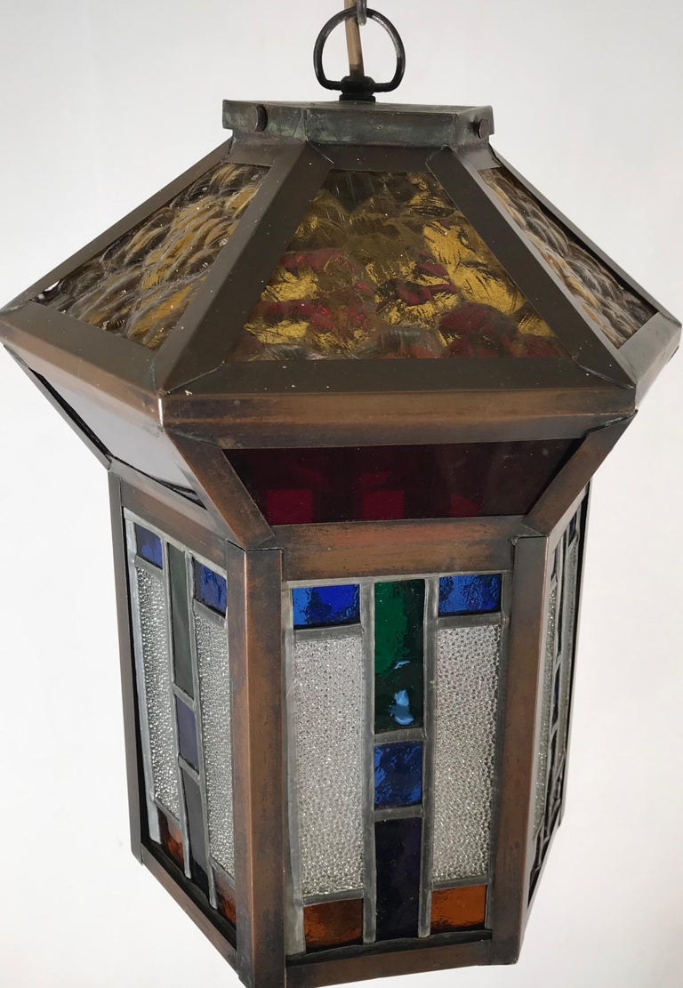 Handcrafted Stain Leaded Glass Geometric Design Art Deco Pendant, Great Colors For Sale 1