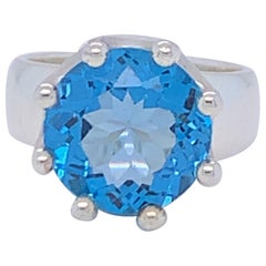 Handcrafted Sterling Silver Crown Design Blue Topaz Ring