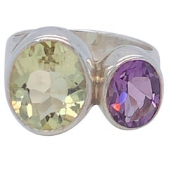 Handcrafted Sterling Silver Two-Stone Amethyst and Lemon Quartz Ring