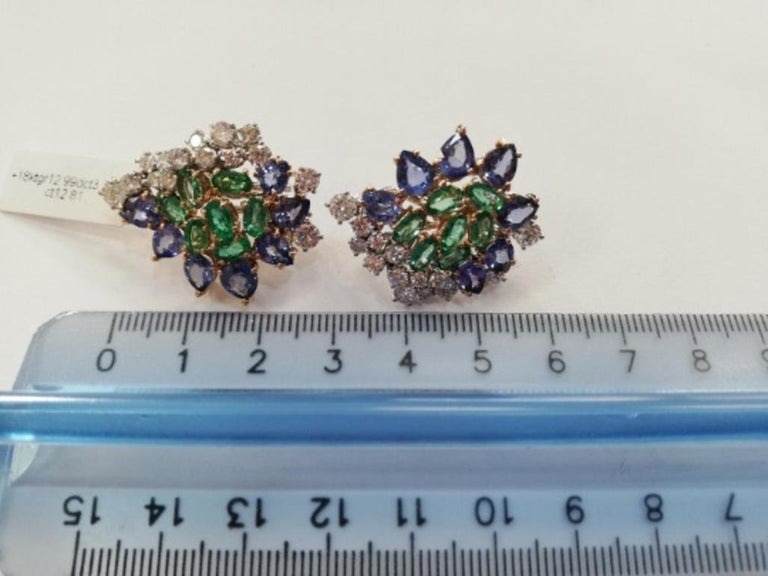 Women's Handcrafted Stud Earrings Diamonds, Emeralds, Sapphires, 18 Karat White Gold For Sale