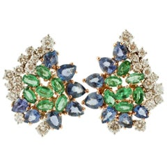 Handcrafted Stud Earrings Diamonds, Emeralds, Sapphires, 18 Karat White Gold
