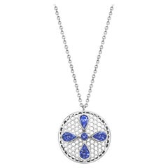 Handcrafted Tanzanites and 18 Karat White Gold Pendant Necklace