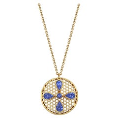 Handcrafted Tanzanites and 18 Karat Yellow Gold Pendant Necklace