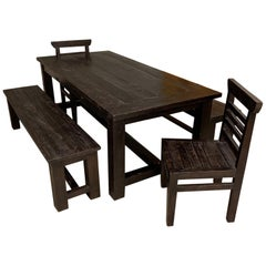 Handcrafted Teak Table and Two Benches and Two Chairs