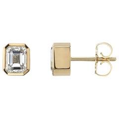 Handcrafted Teddi Emerald Cut Diamond Stud Earrings by Single Stone