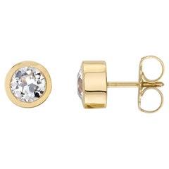 Handcrafted Teddi Old European Cut Diamond Stud Earrings by Single Stone