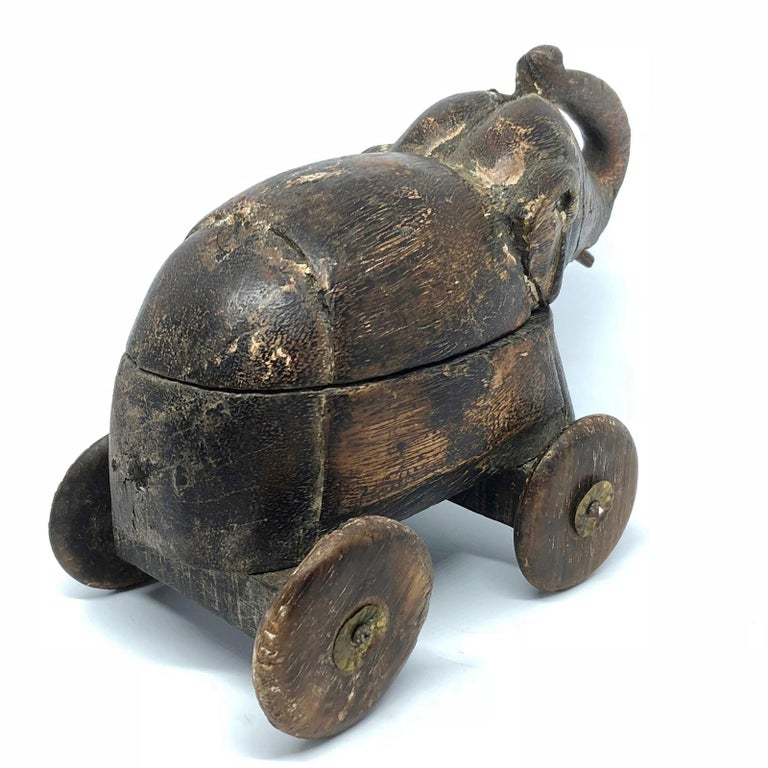 Hand-Carved Handcrafted Thai Carved Wood Elephant, circa 1950s For Sale