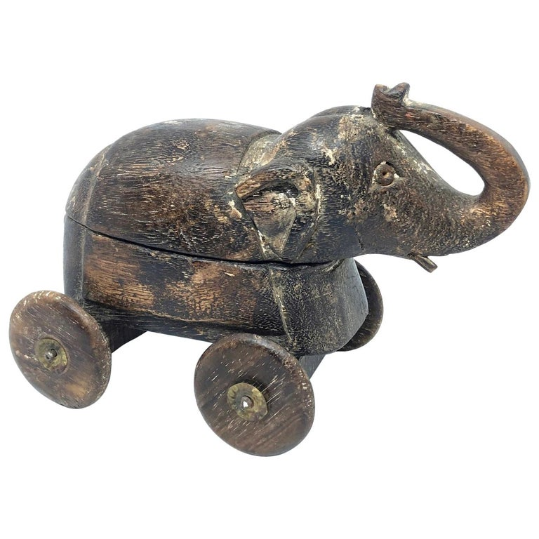 Handcrafted Thai Carved Wood Elephant, circa 1950s For Sale