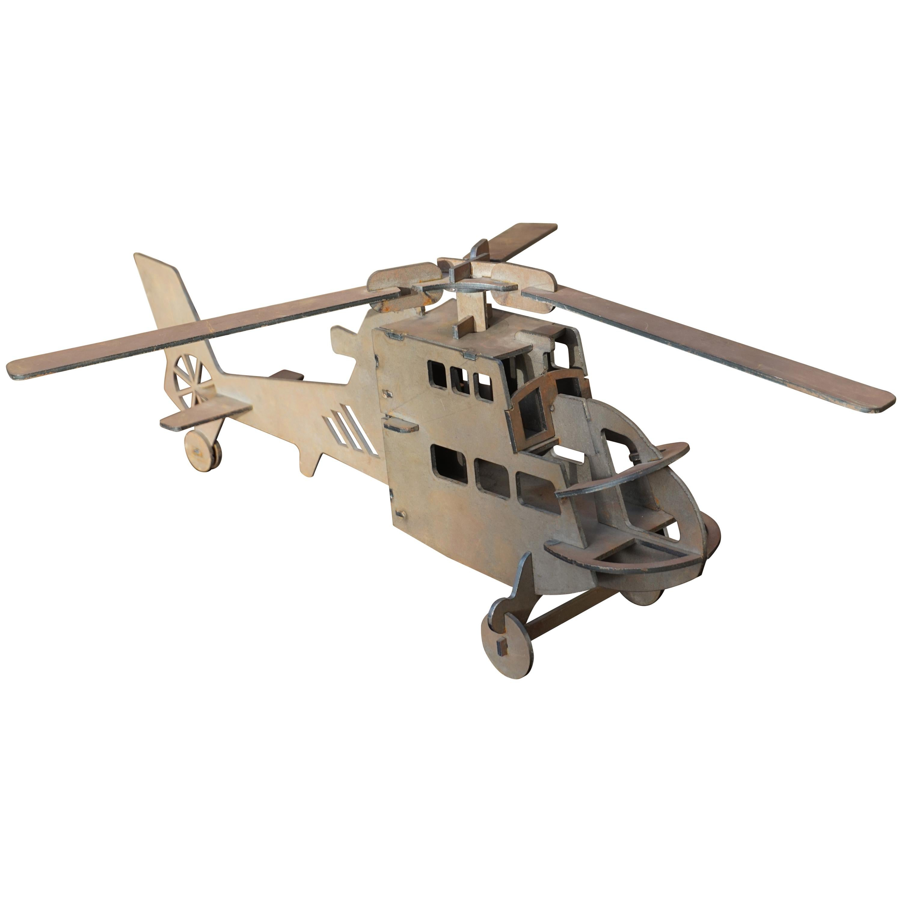 Handcrafted Thick Sheet Metal Folk Art Chopper / Army Helicopter Model Pendant