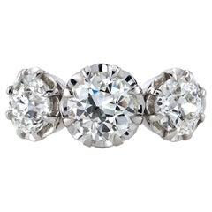 Handcrafted Three Stone Jolene Old European Cut Diamond Ring by Single Stone