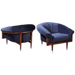 Handcrafted Tub Chair Set of 2, Chocolate Oak/Ocean Blue