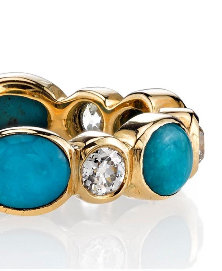 Turquoise and Old European Cut Diamonds Set in a Yellow Gold Eternity Band In New Condition For Sale In Los Angeles, CA