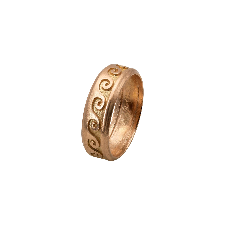 Customizable Ugolini 18 Karat Rose Gold Wave Unisex Design Engagement Band Ring