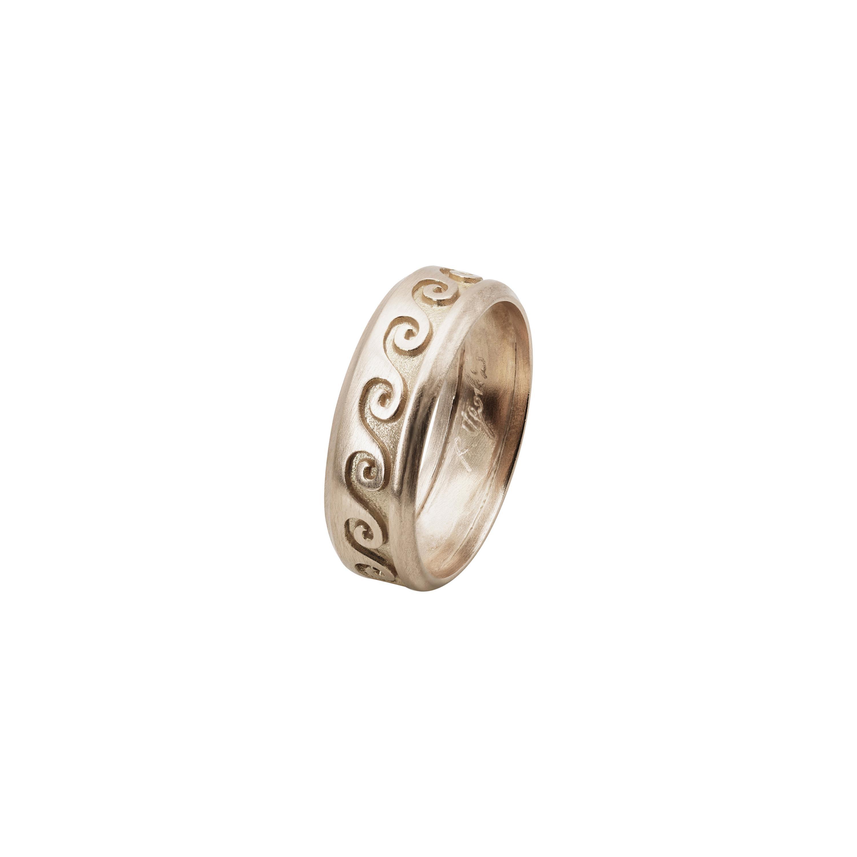 Customizable Ugolini 18 Karat White Gold Wave Unisex Design Engagement Band Ring