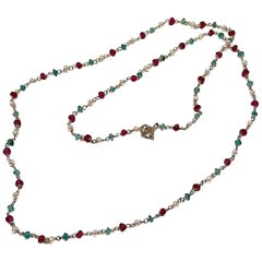 Handcrafted Ugolini 3Karat Emeralds 18 Karat Yellow Gold Garnets Beaded Necklace