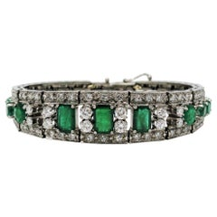 Handcrafted Vintage Diamond and Emerald Hinged Tapered Cuff Bracelet White Gold