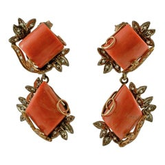 Handcrafted Vintage Ea Diamonds, Coral, 9 Karat Gold and Silver Vintage Earrings