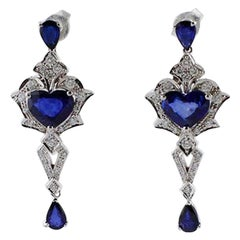 Handcrafted Vintage Earrings Blue Sapphires, Diamonds, 14 Karat White Gold