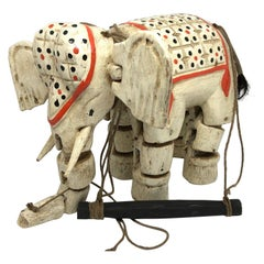 Handcrafted Vintage Marionette Puppet on a String Elephant, India, 1930s