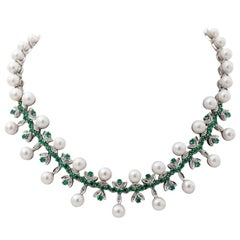 Handcrafted Vintage Necklace Diamonds, Emeralds, Pearls, 14 Karat White Gold