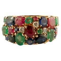Handcrafted Vintage Ring Rubies, Emeralds and Blue Sapphire, 14 Karat Rose Gold