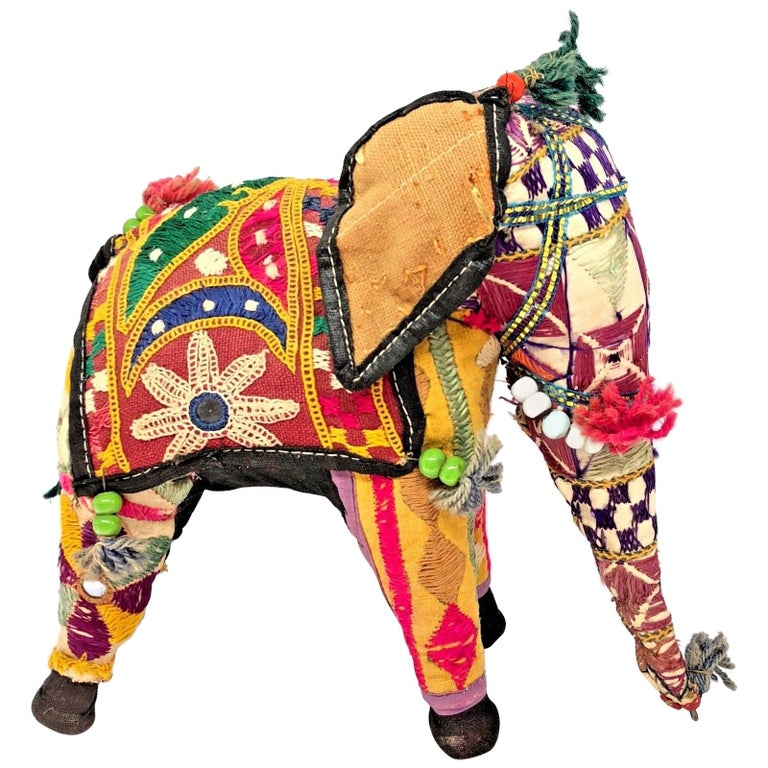 Handcrafted Vintage Stuffed Fabric Embroidered Elephant India For